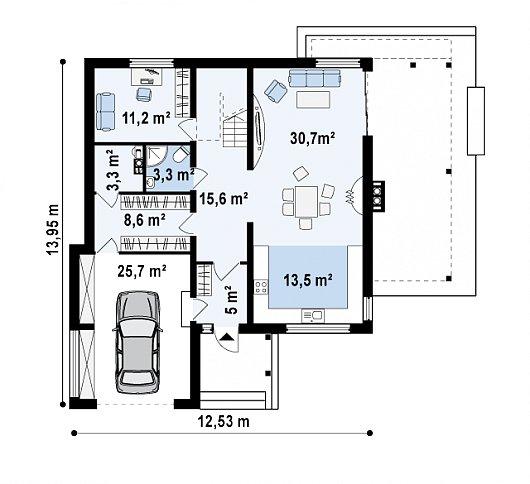 Первый этаж 116,9 м² дома Zx33