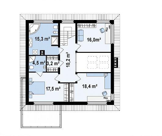 Второй этаж 85,1 м² дома Zx33