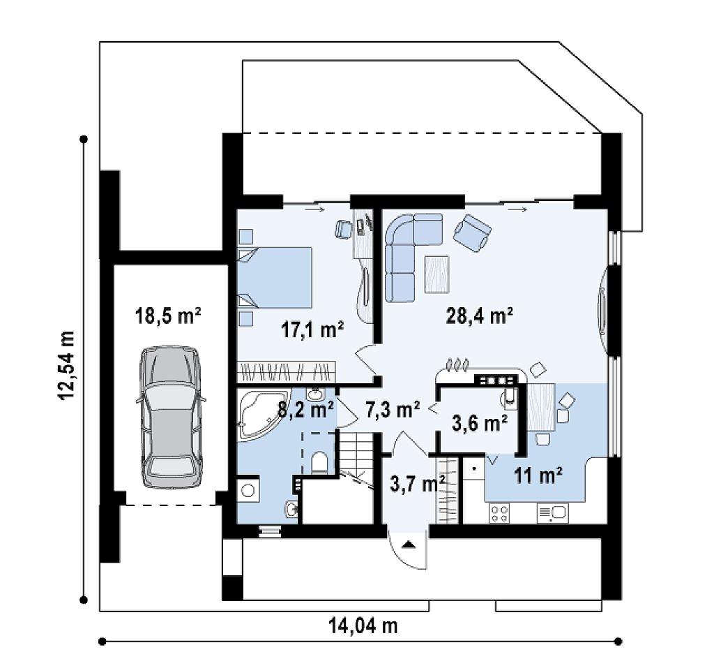 Первый этаж 97,9 м² дома Zx55