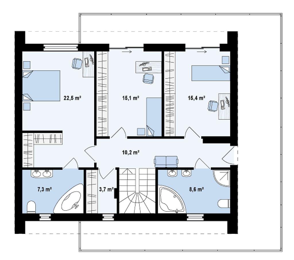 Второй этаж 82,8 м² дома Zx55
