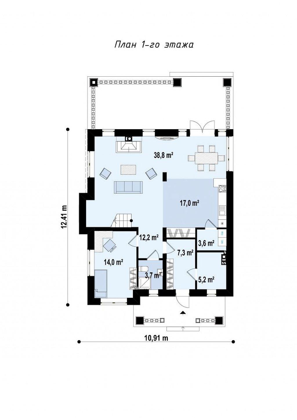 Первый этаж 57,8 / 118,2  дома Zz2L BG