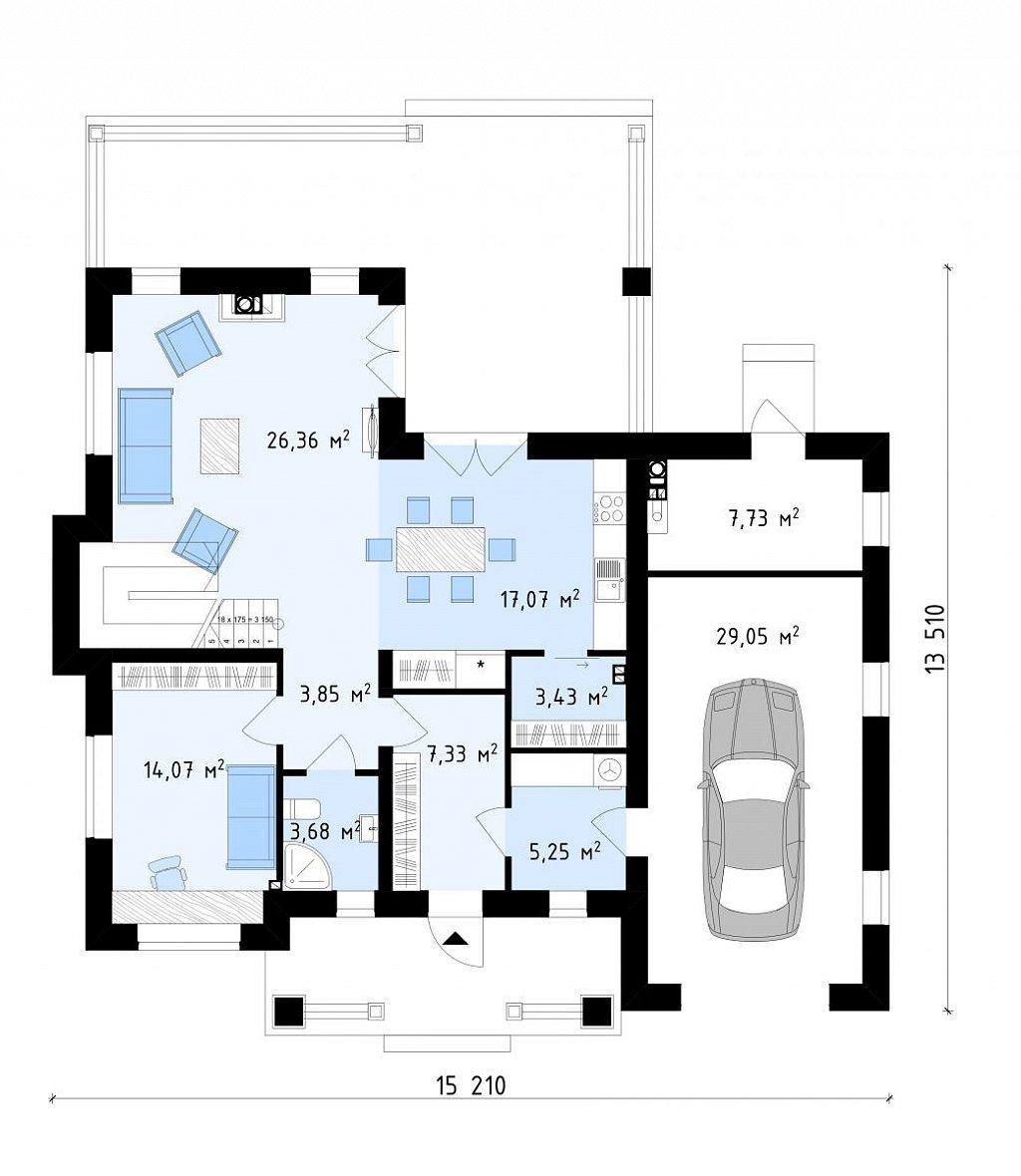Первый этаж  дома ZZ2