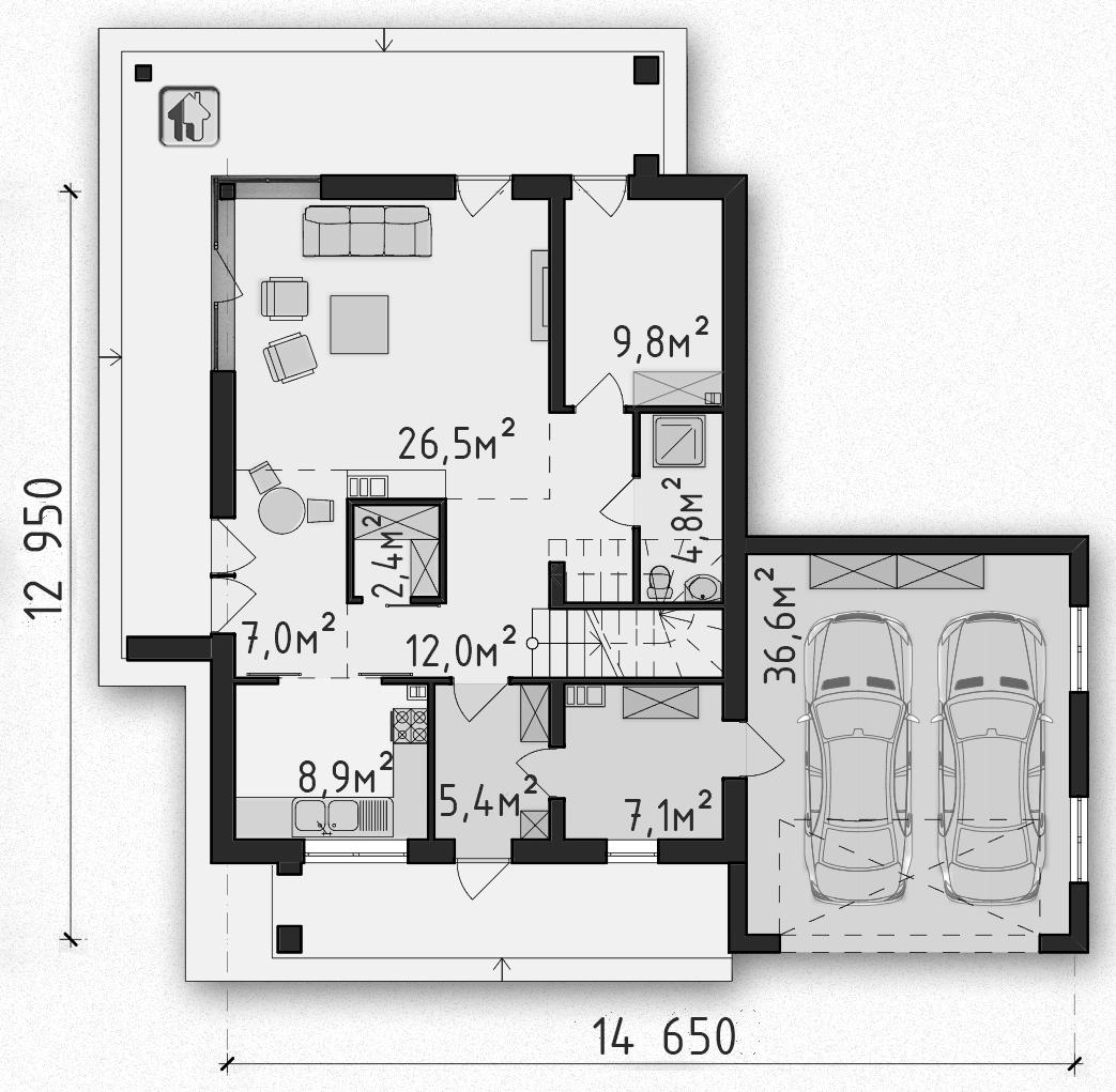 Общая площадь по 1 этажу 115,38 дома Zh1
