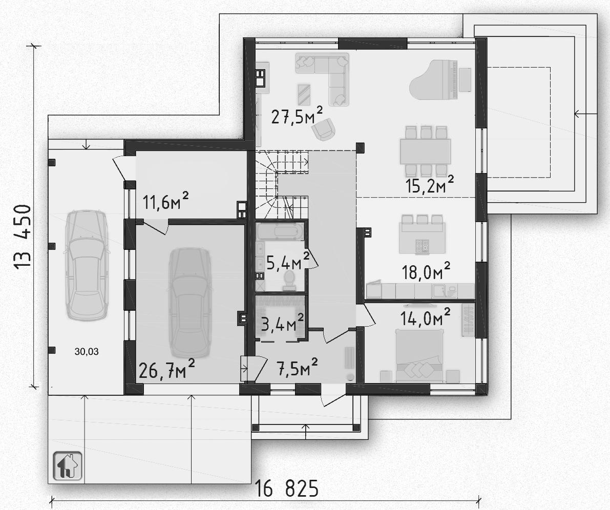 Общая площадь по 1 этажу 138,40 дома ZH11