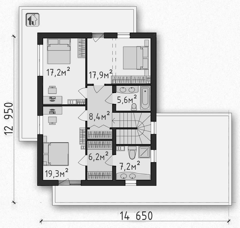 Общая площадь по 2 этажу 81,74 дома Zh1