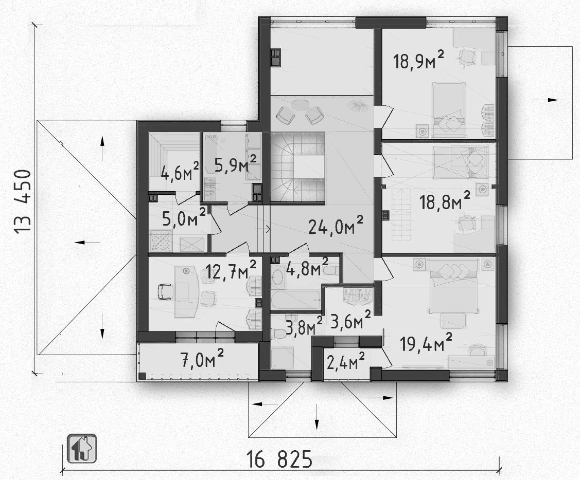 Общая площадь по 2 этажу 124,83 дома ZH11
