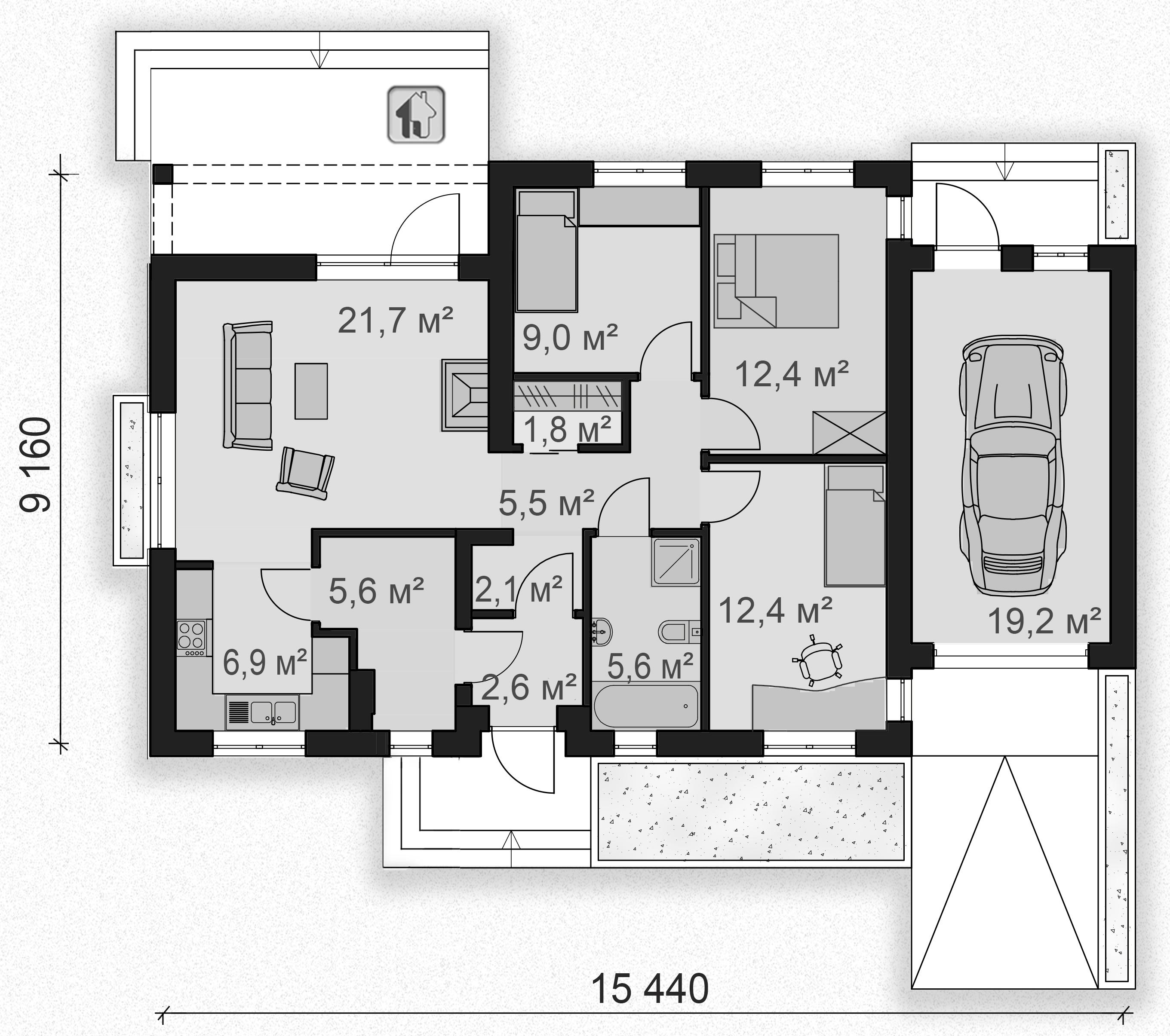 Схема первого этажа дома ZH8