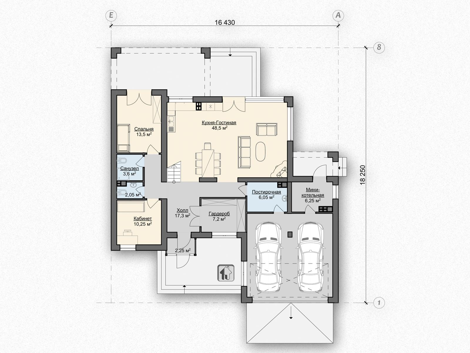 Схема первого этажа дома ZH6