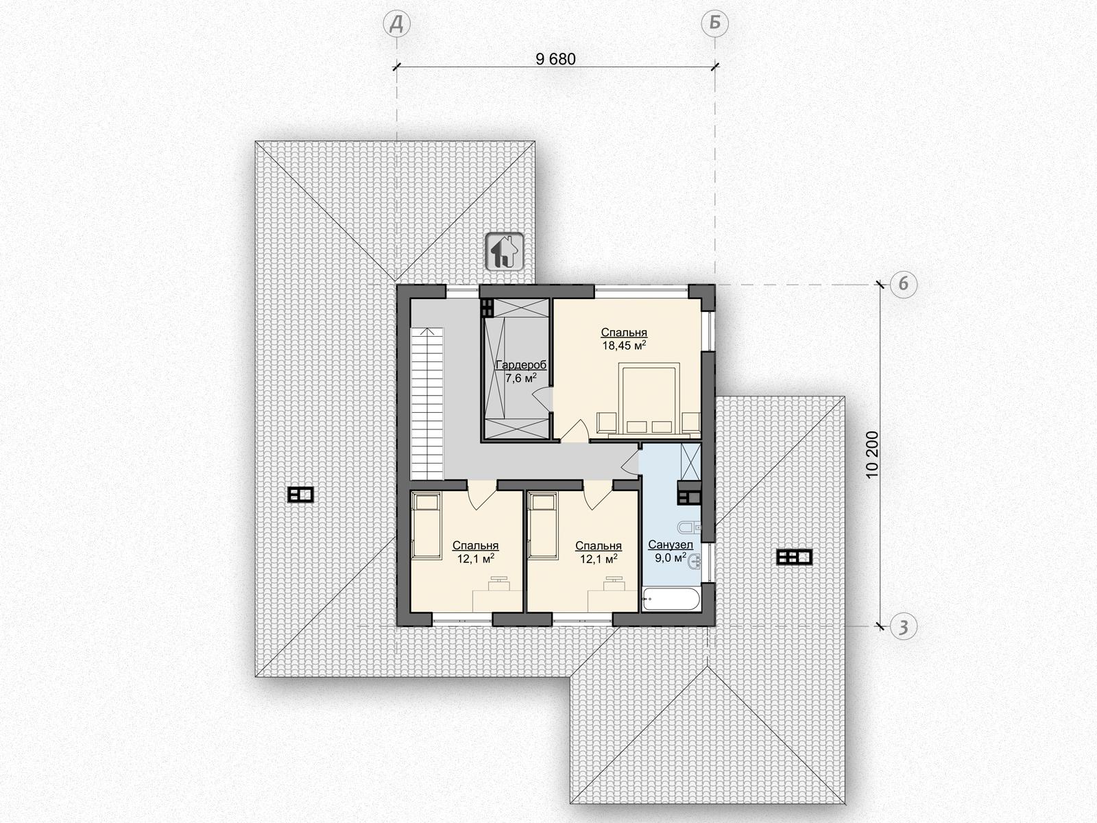 Схема второго этажа дома ZH6
