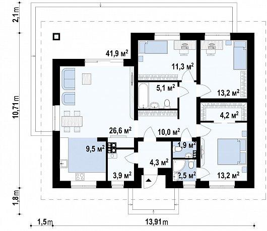 Первый этаж  дома Z368 D