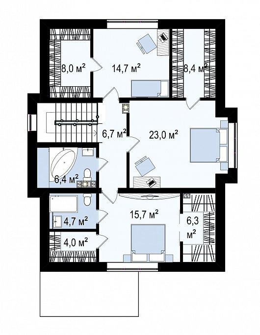 Второй этаж 53,4 м² дома Zz7