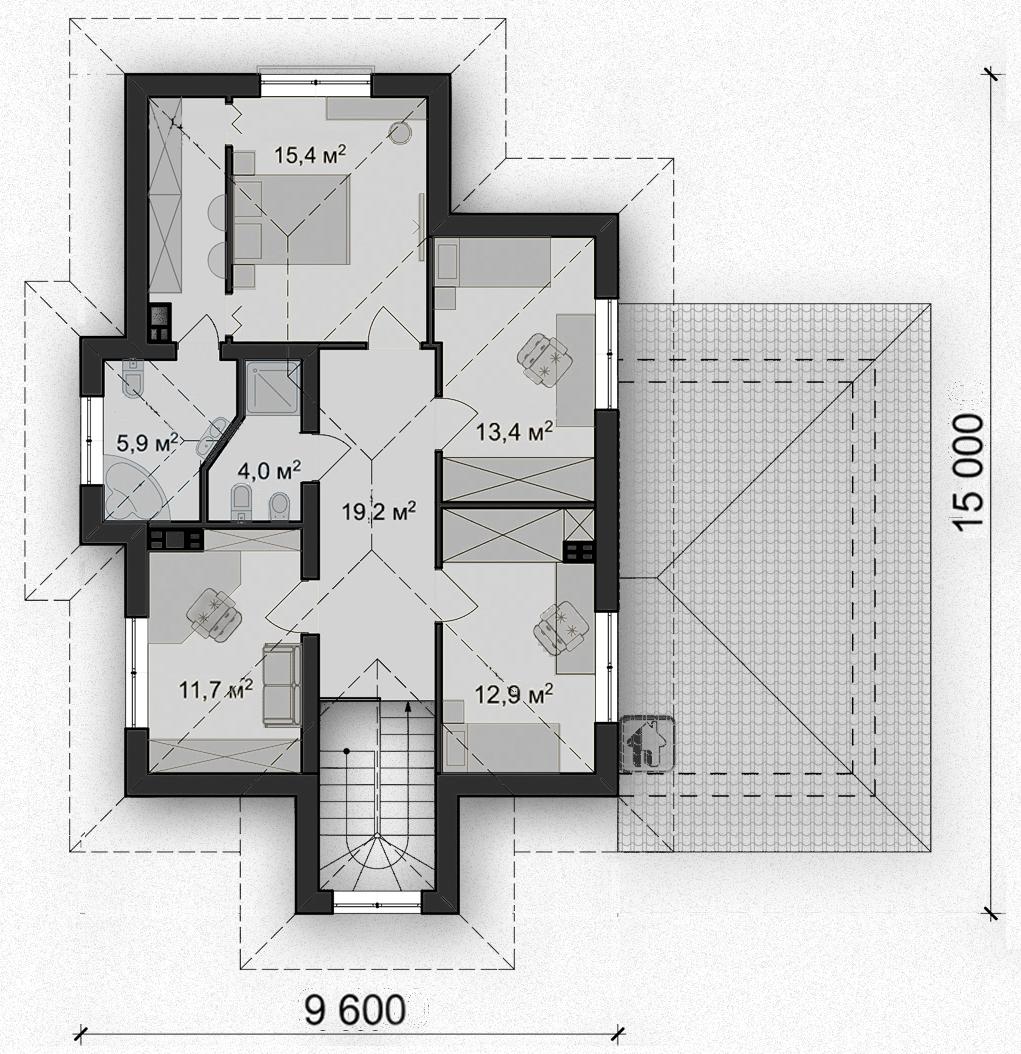 Схема второго этажа дома ZH9