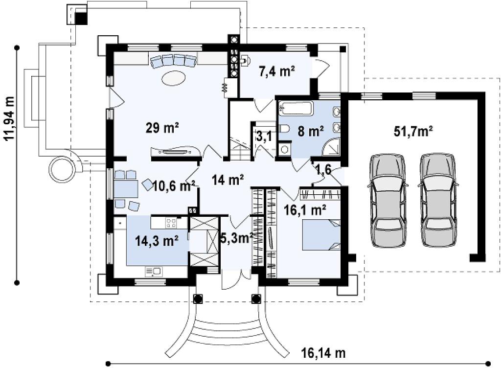 Первый этаж 161,3 м дома Z109 GP2