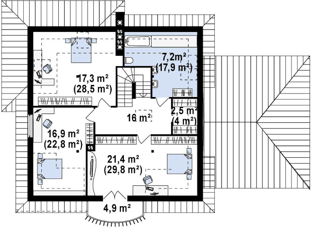 Второй этаж 119,1 м дома Z109 GP2