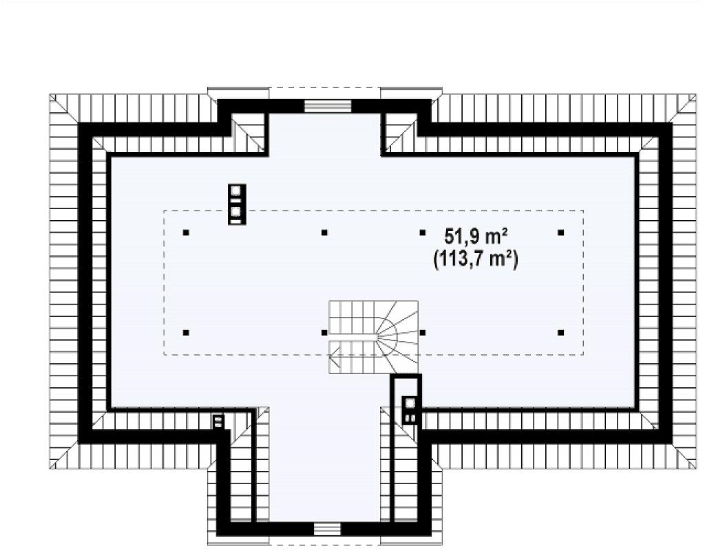 Второй этаж 113,7 м дома Z2 L + w