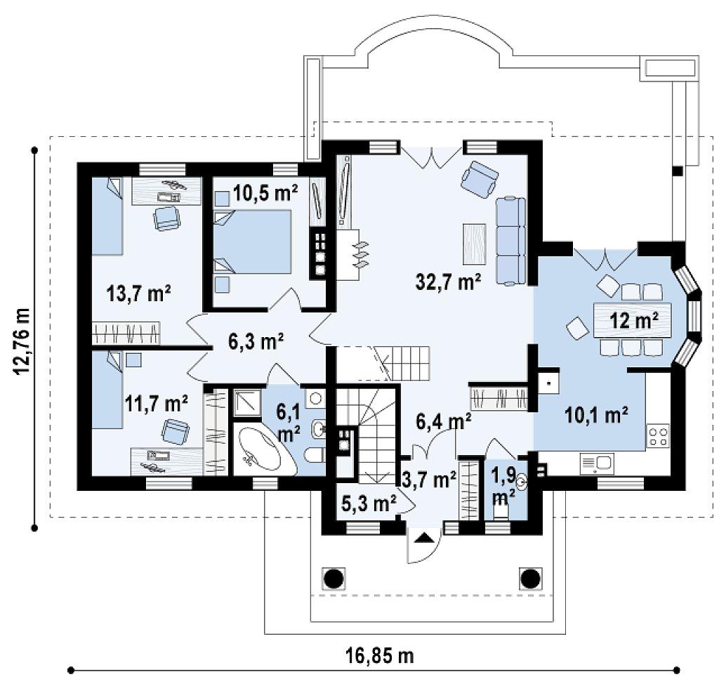 Первый этаж 120,5 м дома Z2+ w p