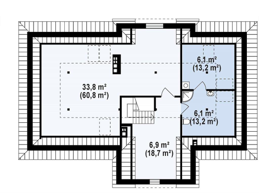 Второй этаж 106,0 м дома Z2+ w p