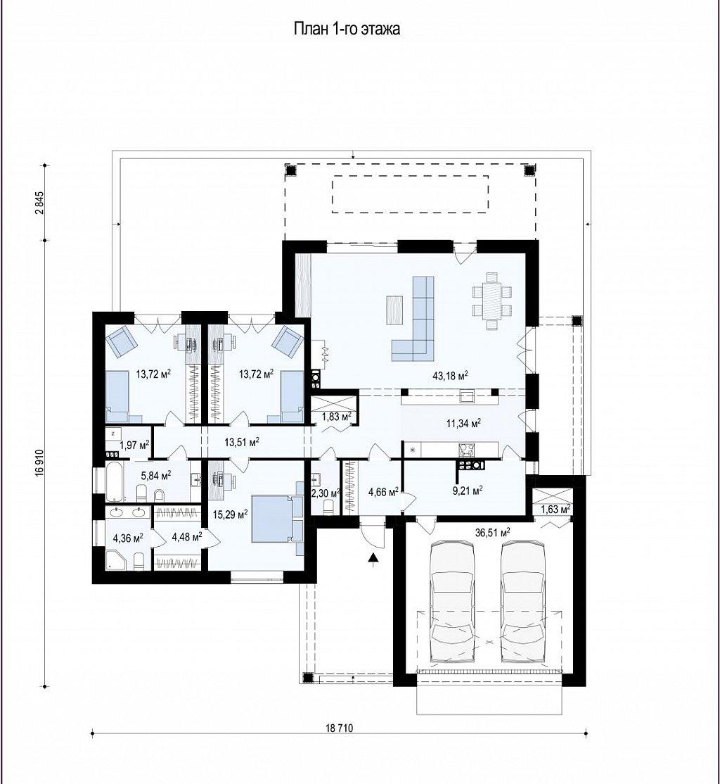Первый этаж 210,0 м дома Z282