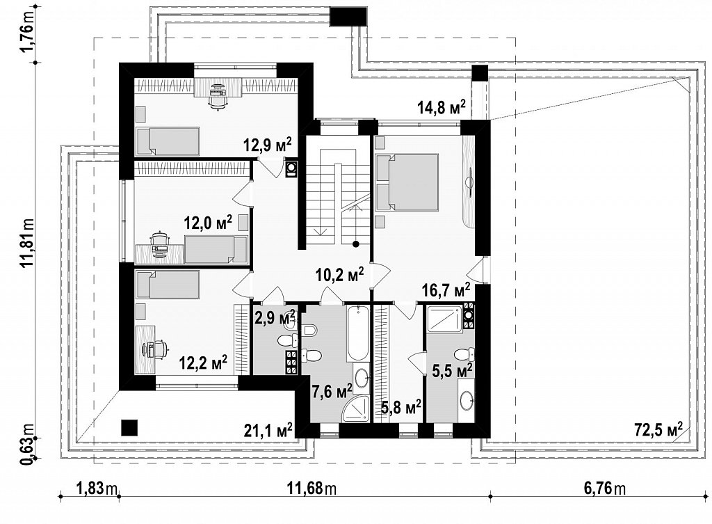 Второй этаж 85,6 м дома Z291