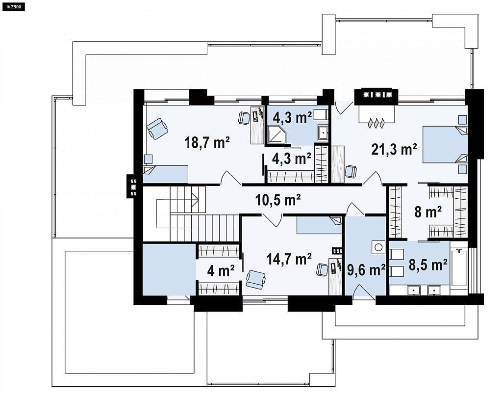 Второй этаж 109,4 м дома Zx107