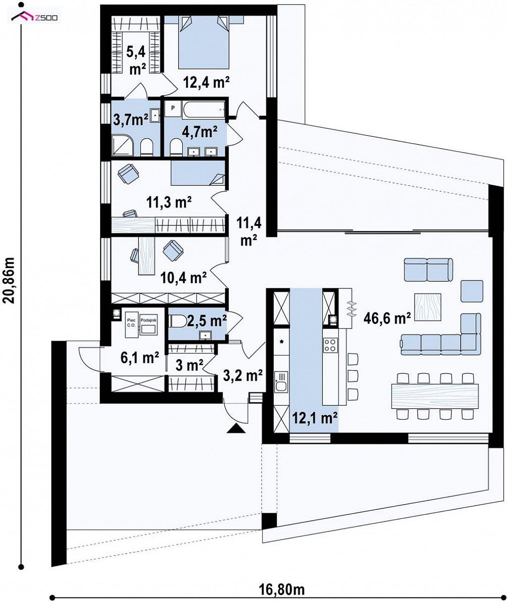 Первый этаж 133,0 м дома Zx87