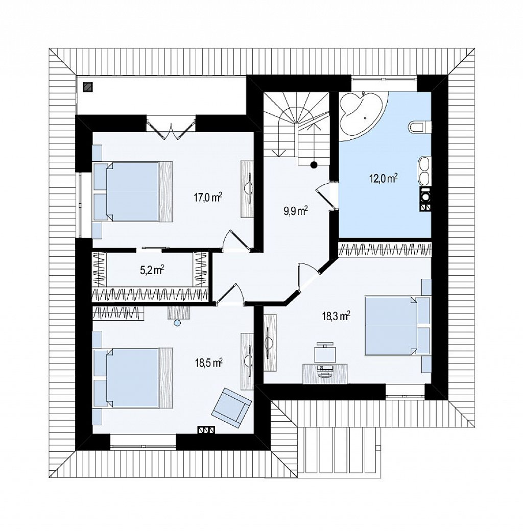 Второй этаж 80,9 м дома Zz1a