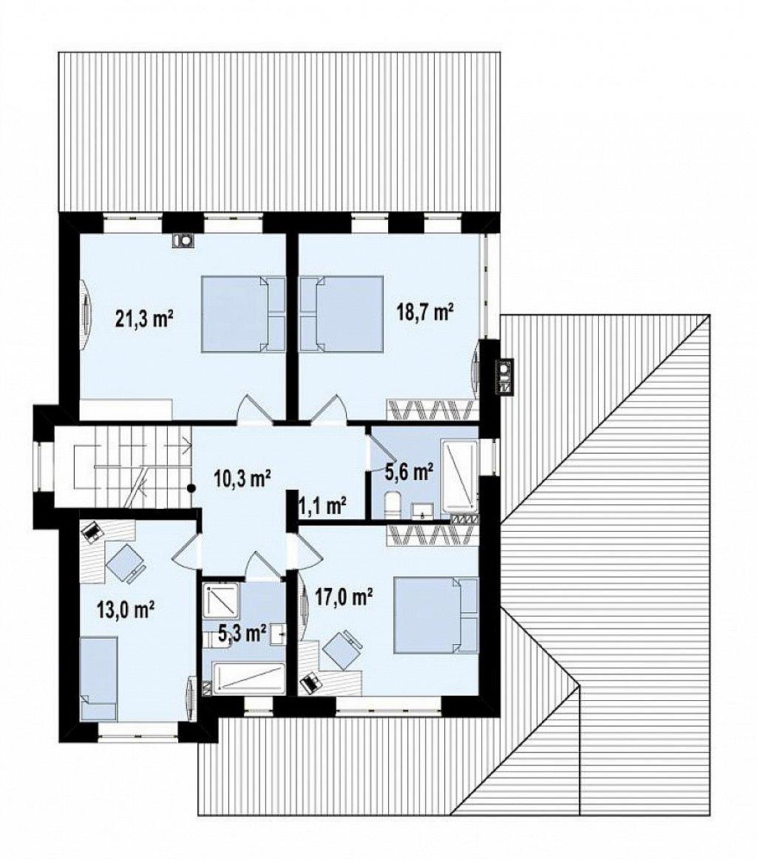 Второй этаж 92,3 дома Zz2L