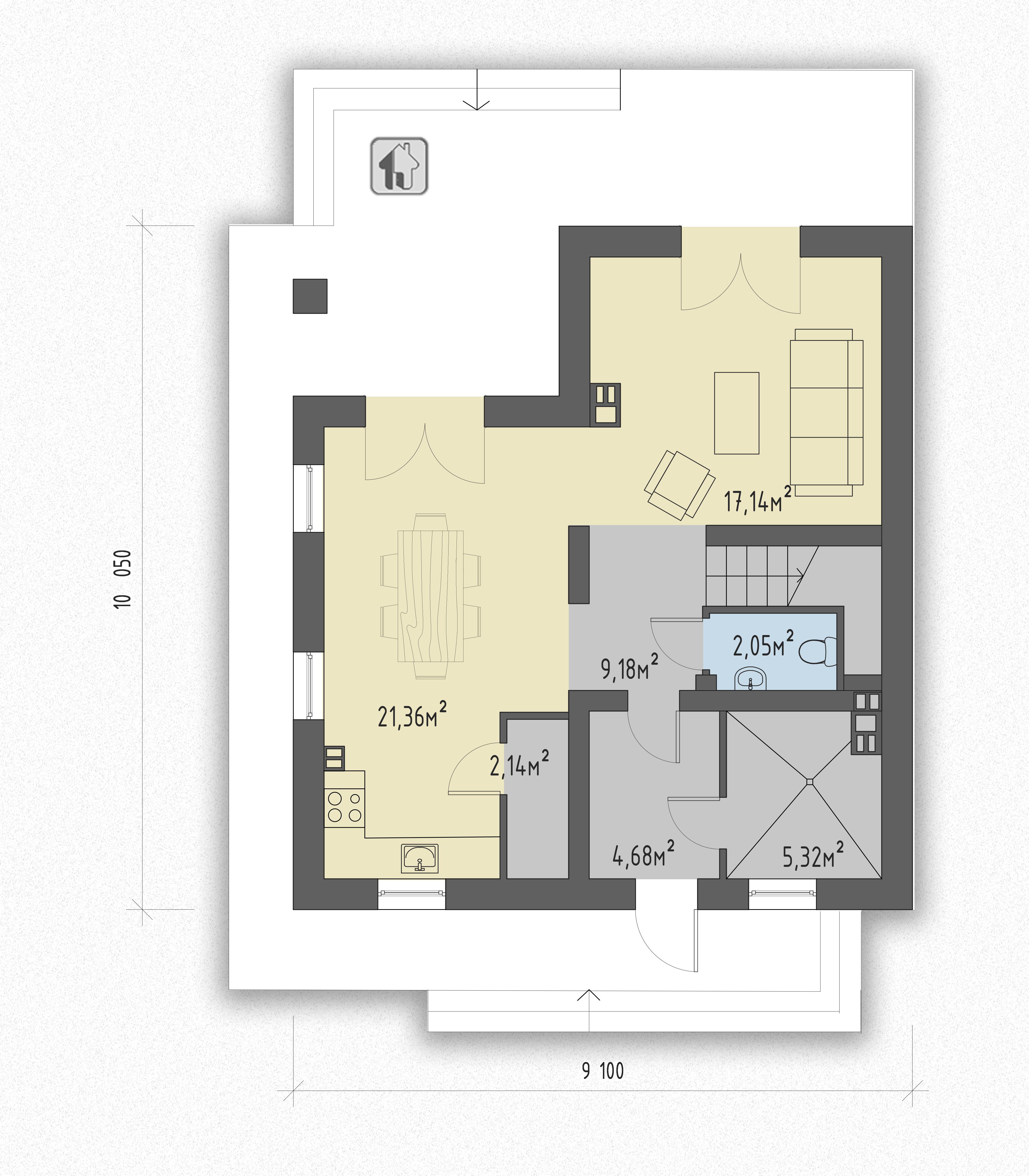 Первый этаж дома ZH18