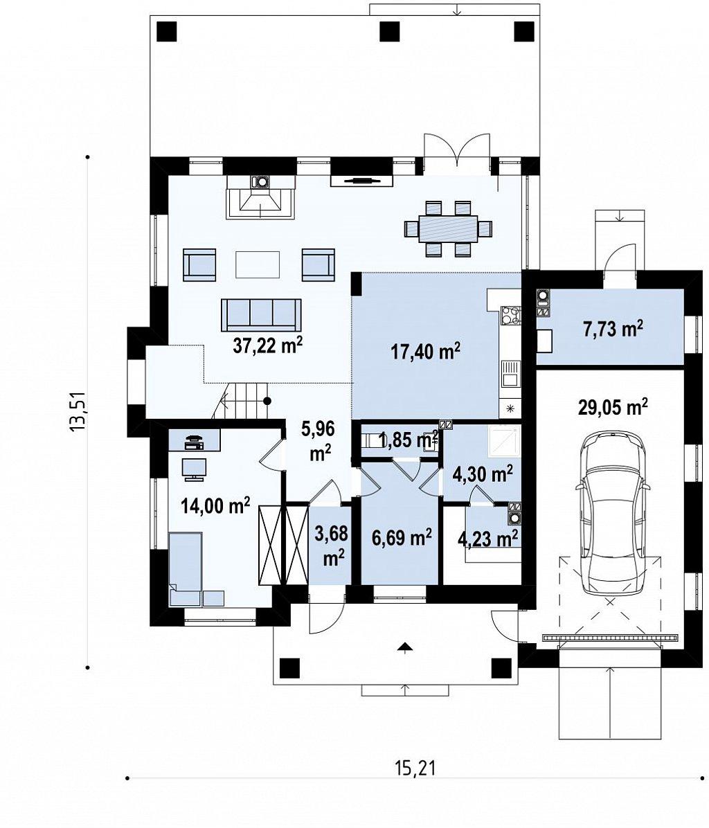 Первый этаж 133,8 м² дома Zz2 L +