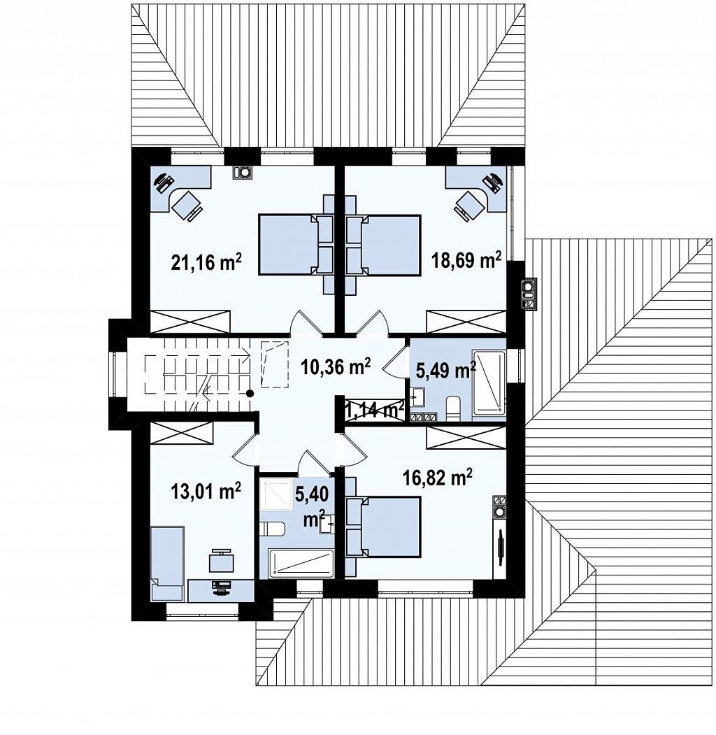 Второй этаж 102,1 м² дома Zz2 L +