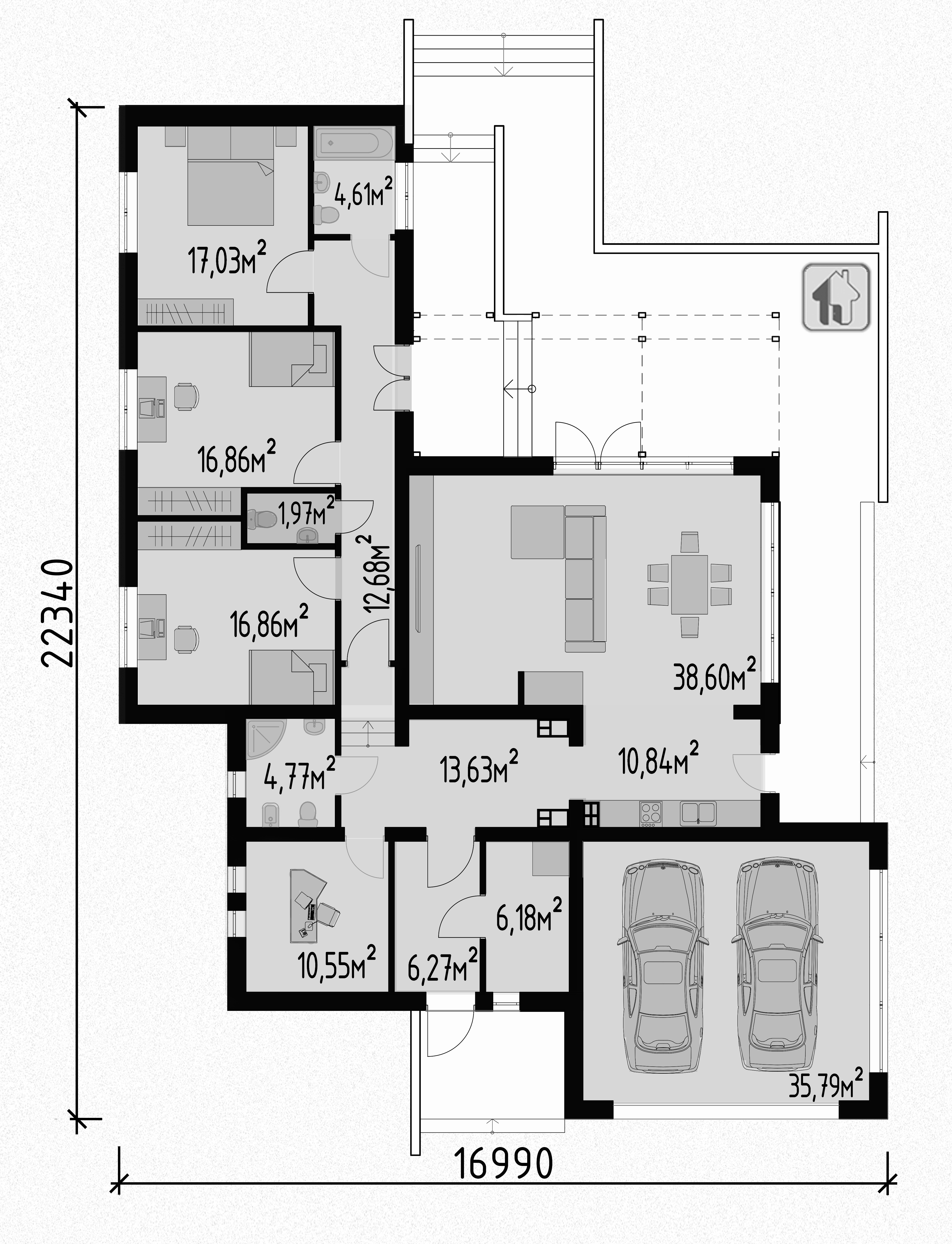 Схема первого этажа  дома ZH19