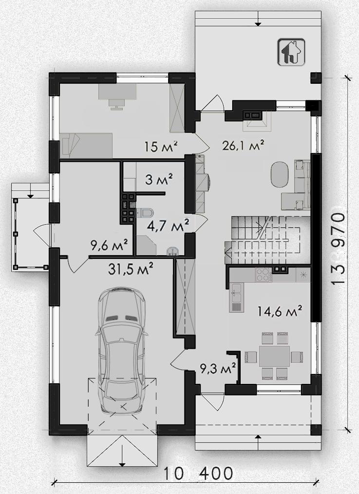 Схема первого этажа дома ZH2 — Небесный 1