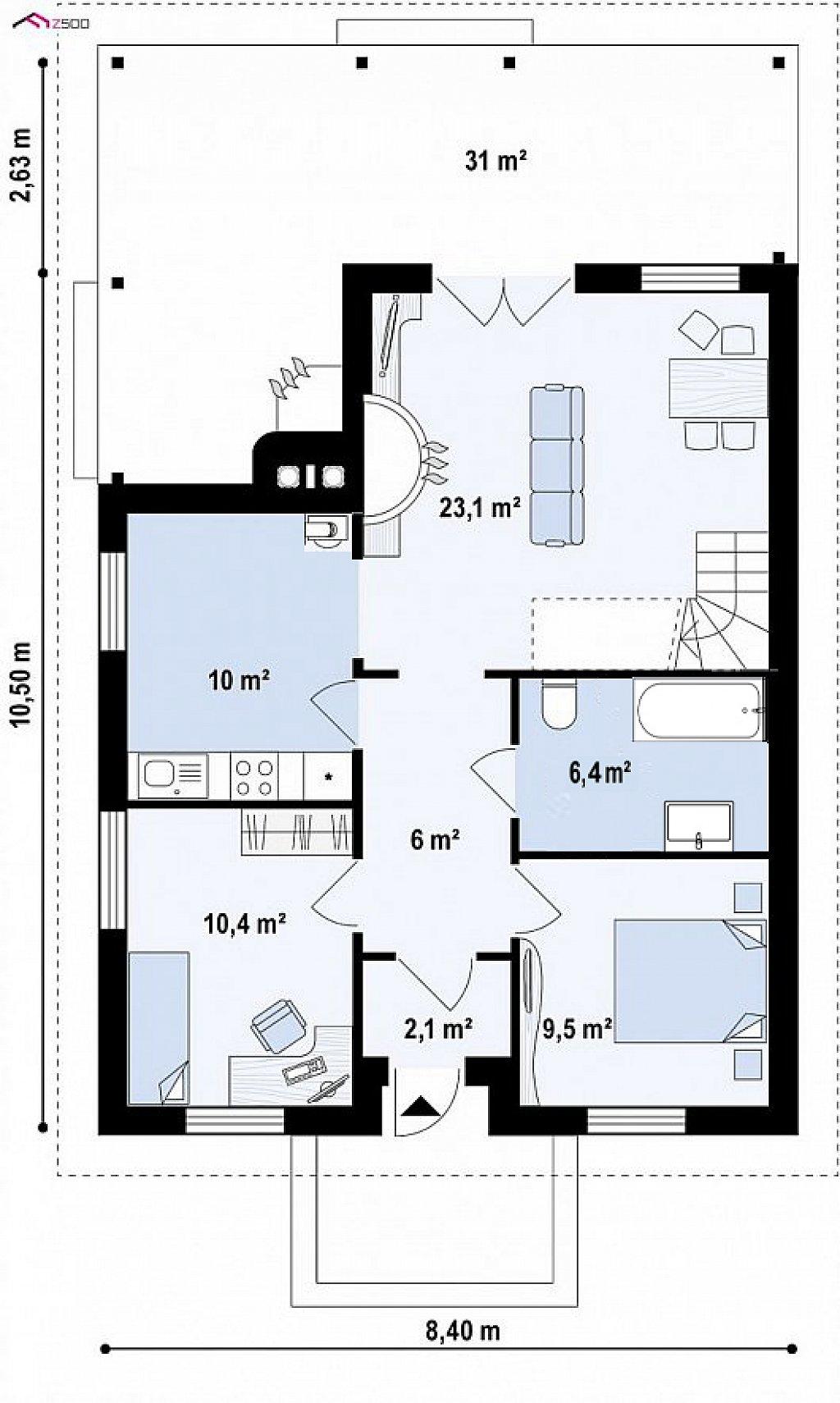 Первый этаж 69,0 м² дома Z16D 35