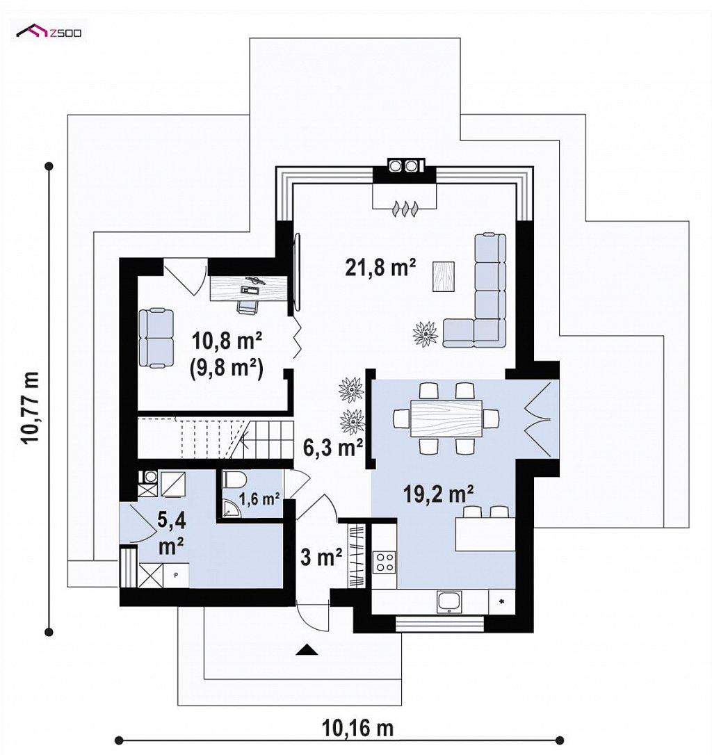 Первый этаж 67,6 м² дома Zx165