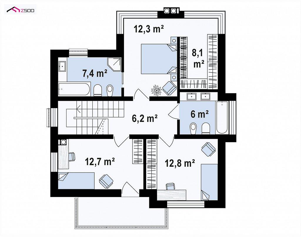 Второй этаж 65,5 м² дома Zx165