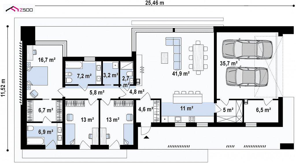 Первый этаж 184,7 м² дома Zx166