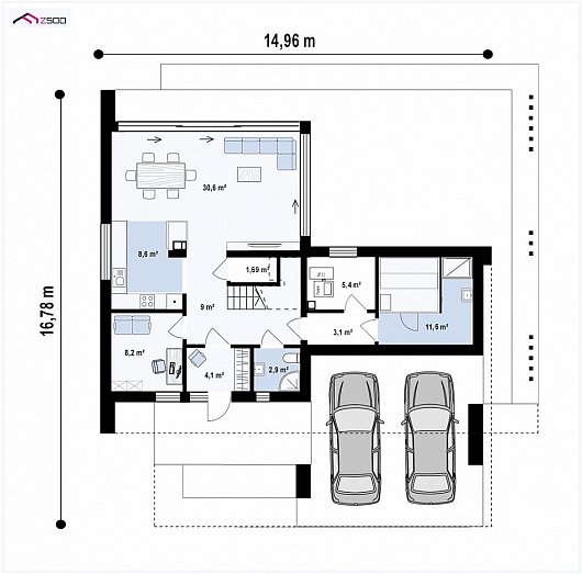 Первый этаж 85,2 м² дома Zx167