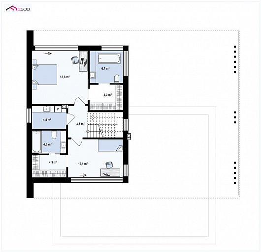 Второй этаж 61,7 м² дома Zx167