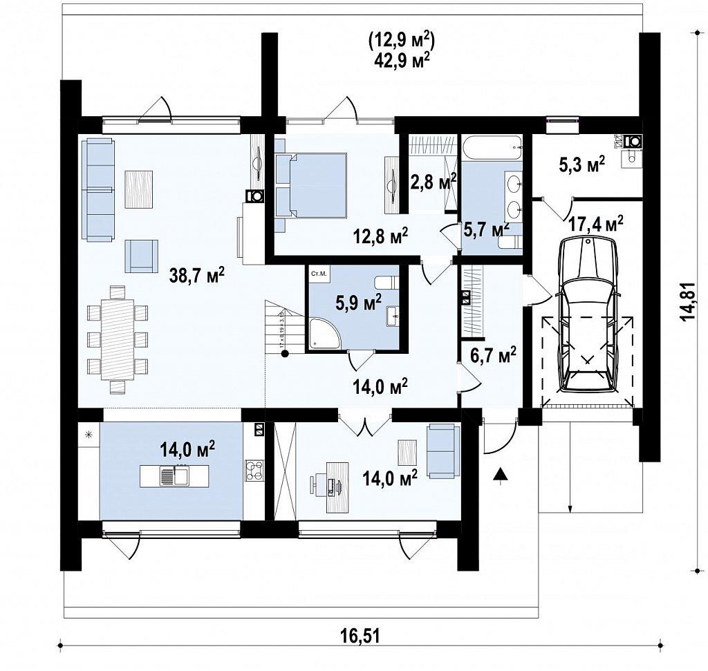 Первый этаж 162,1 м² дома Zx250