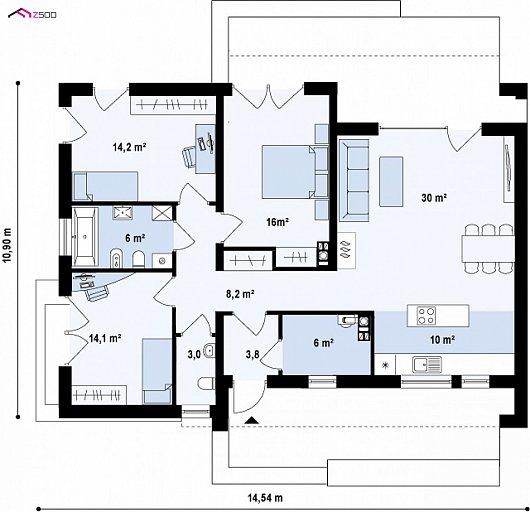 Первый этаж 111,3 м² дома Zx53 +