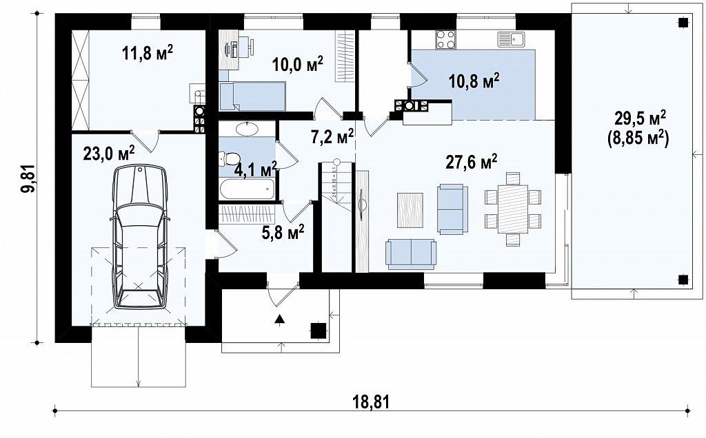 Первый этаж 126,8 м² дома Zx63C