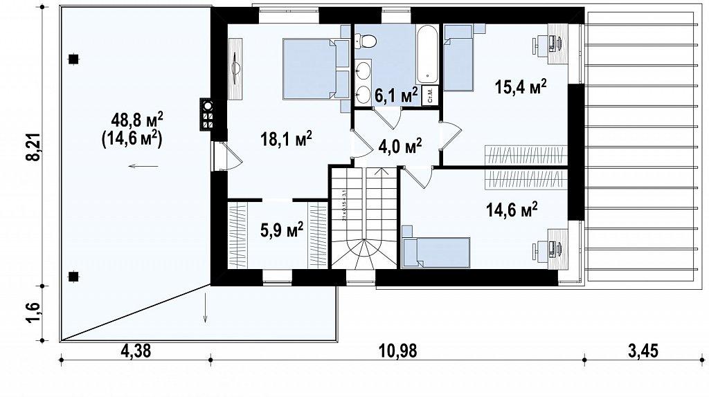 Второй этаж 64,1 м² дома Zx63C