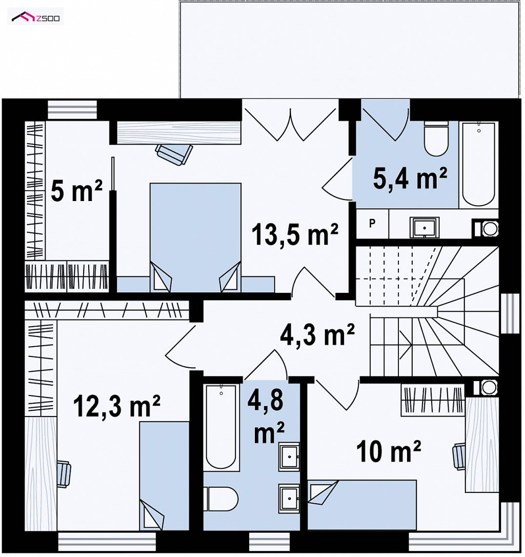 Второй этаж 55,3 м² дома Zx90