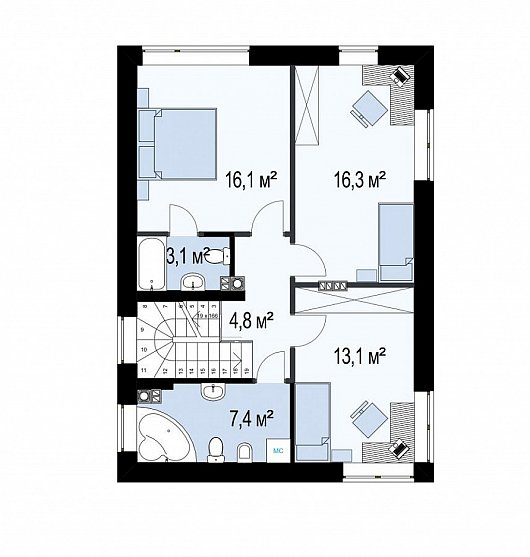 Второй этаж 72,0 м² дома Zz3
