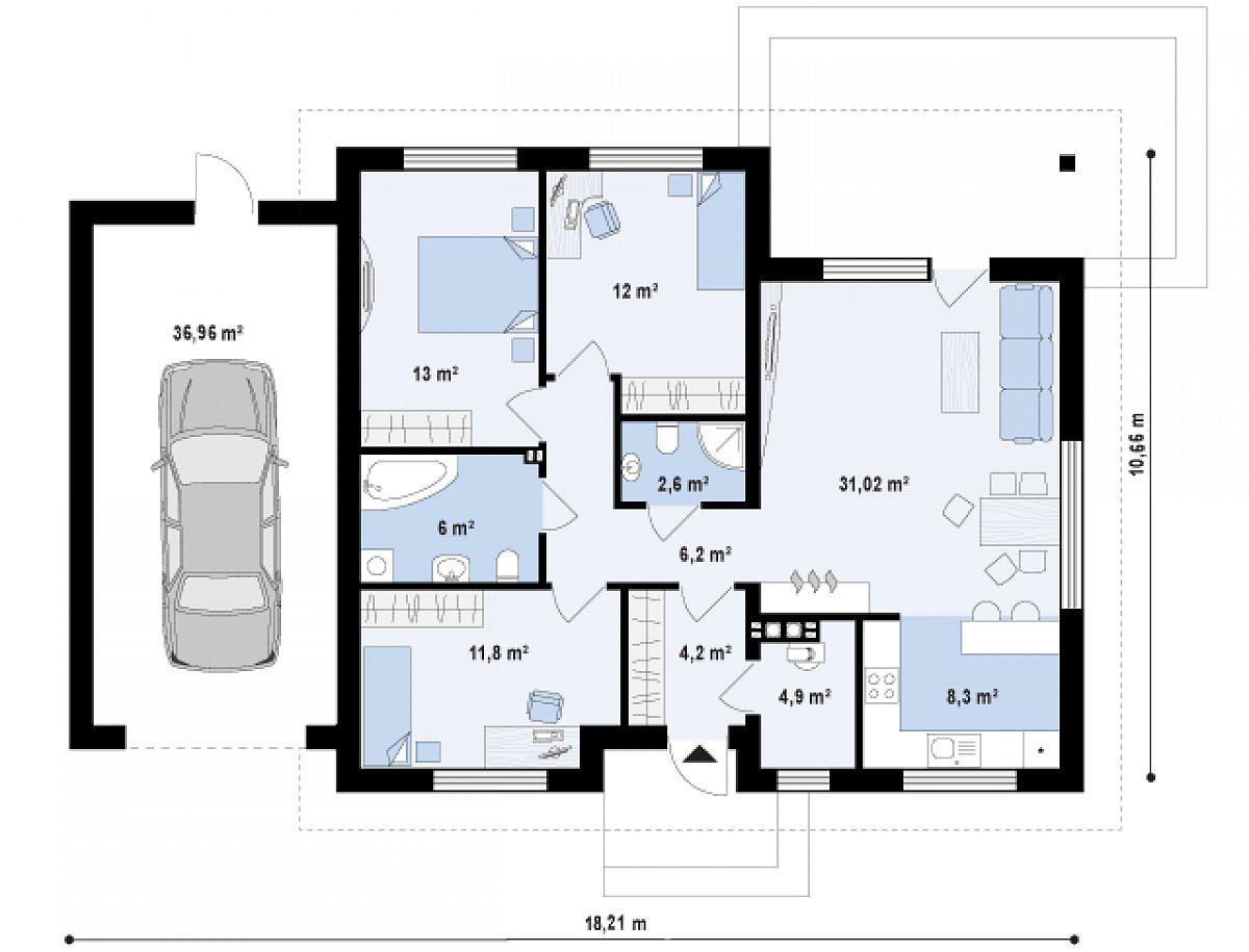 Первый этаж 100,0(128,9м²) дома Z273 a L GL