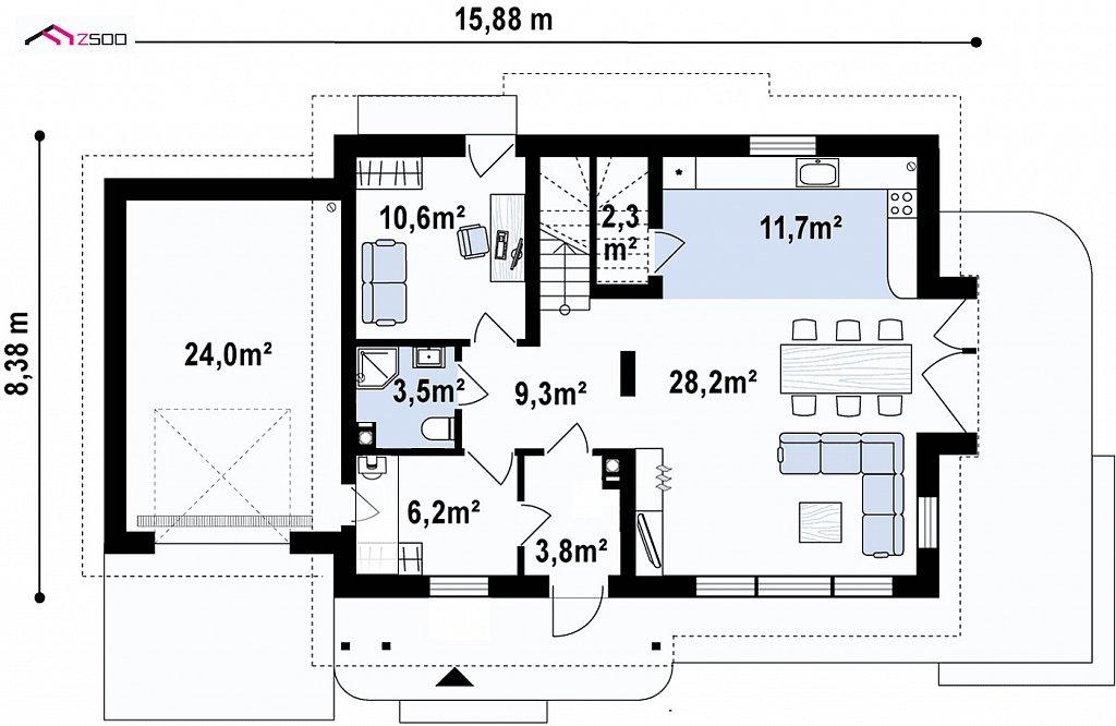 Первый этаж 99,6 м² дома Z113GL