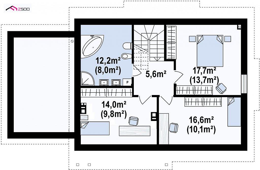 Второй этаж 66,0 м² дома Z113GL