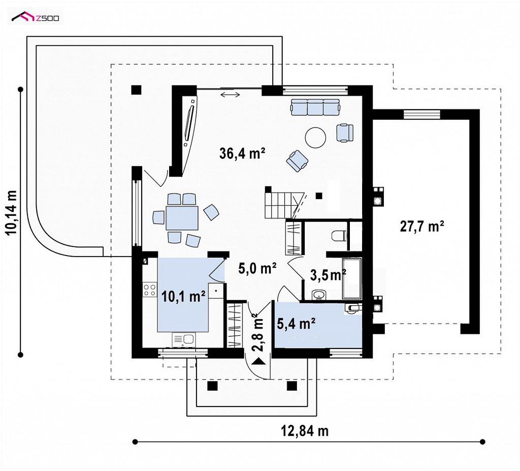 Первый этаж 96,0 м² дома Z145GP