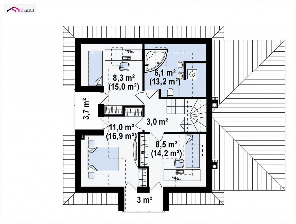 Второй этаж 62,6 м² дома Z145GP