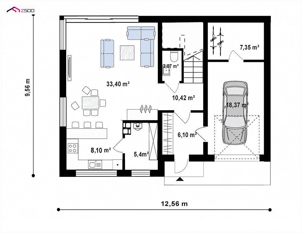 Первый этаж 91,2 м² дома Z408